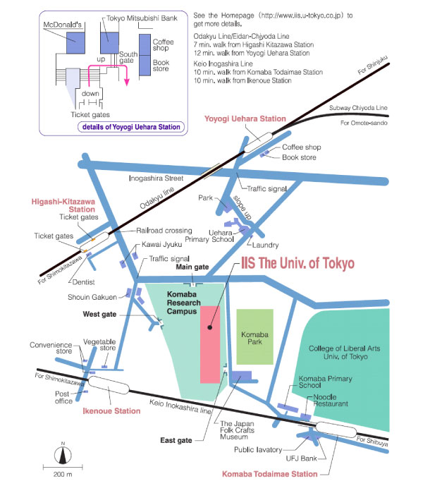 Map to Komaba Research Campus